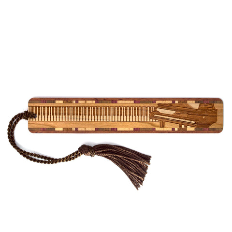 Musical Instrument - Piano Engraved Wooden Bookmark with Tassel