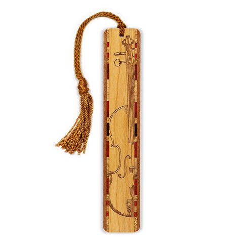 Musical Instrument - Violin Engraved Wooden Bookmark with Tassel