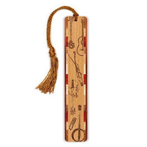 Musical Instruments - Bluegrass Band Engraved Wooden Bookmark with Tassel