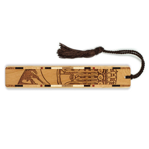 Musical Instrument - French Horn Engraved Wooden Bookmark with Tassel