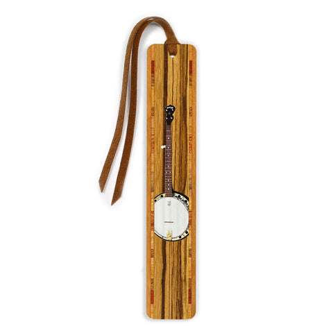 Musical Instrument - Banjo in Color Wooden Bookmark with Tassel