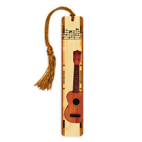 Musical Instrument - Ukulele in Color Wooden Bookmark with Tassel