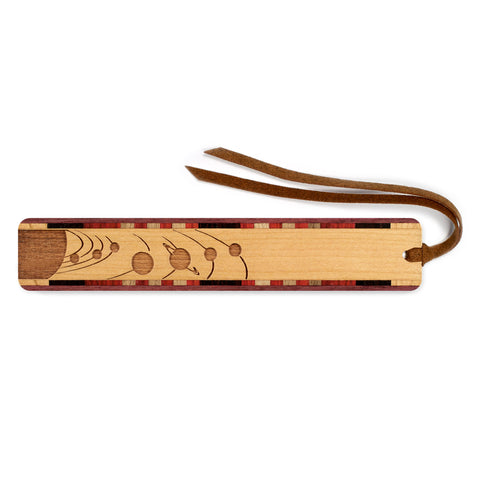 Outer Space - Planets Orbiting Engraved Wooden Bookmark with Tassel