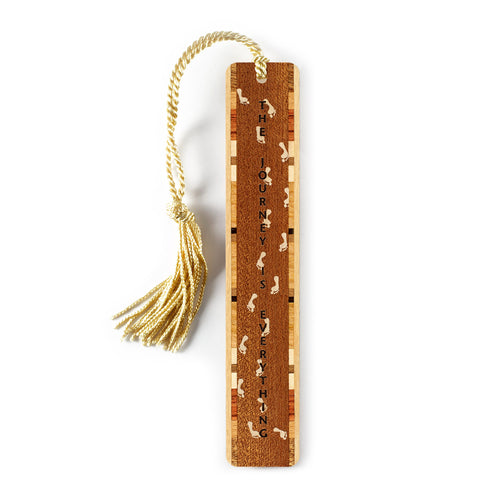 Journey Quote with Footprints Engraved Wooden Bookmark on Sapele with Gold Tassel