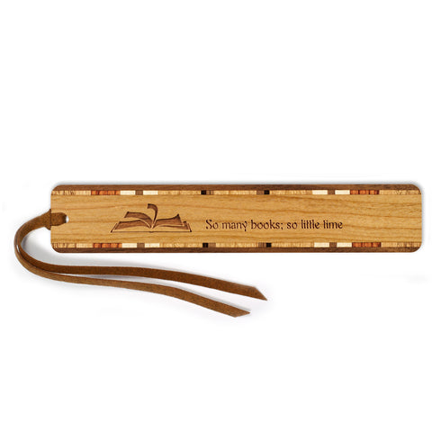 Reading - So Many Books So Little Time - Quote Engraved Wooden Bookmark with Tassel