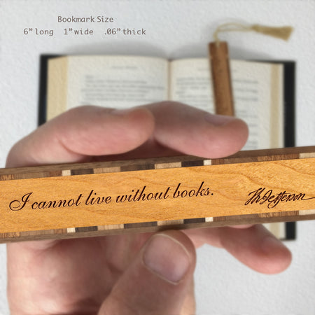 Thomas Jefferson Books Quote Engraved Wooden Bookmark with Tassel