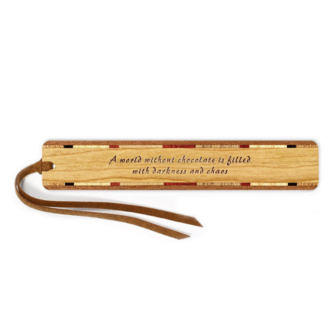 Humorous Chocolate Quote Engraved Wooden Bookmark with Tassel