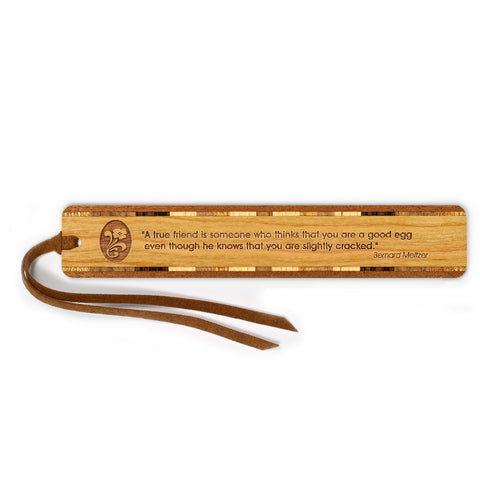 Humorous Friendship Quote Engraved Wooden Bookmark with Tassel