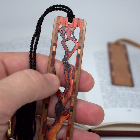Madrona Branch - Engraved Cut Out Wooden Bookmark with Tassel
