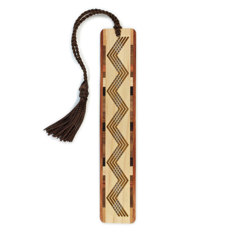 Chevron Design Cut out - Engraved Wooden Bookmark with Tassel