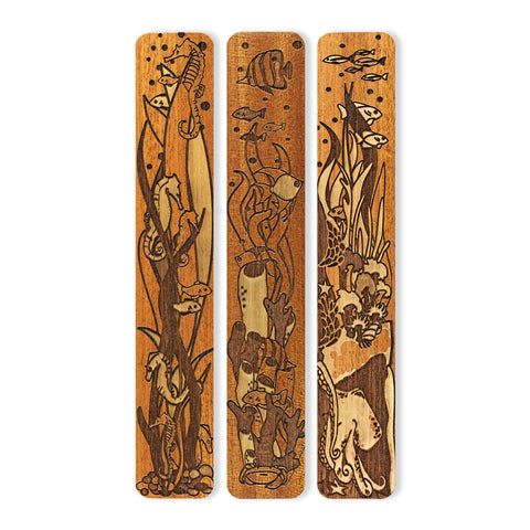 Seafloor (Seahorse - Octopus - Fish) Engraved Set of 3 Wooden Bookmarks