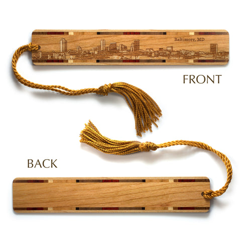 Baltimore Maryland Skyline Engraved Wooden Bookmark with Tassel
