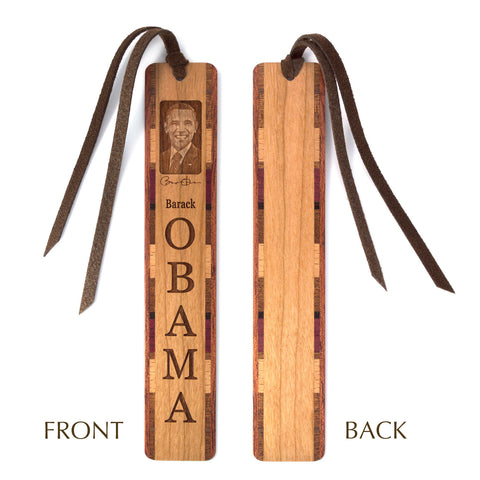 Barack Obama Engraved Wooden Bookmark with Suede Tassel