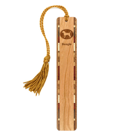 Dog Bookmark - Beagle Engraved Wooden Bookmark with Tassel