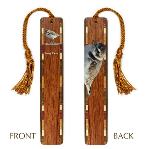 Snowy Plover Wooden Bookmark with Tassel