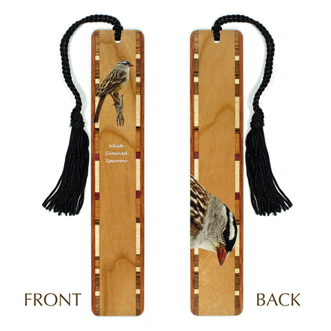 White-crowned Sparrow - Wooden Bookmark with Tassel