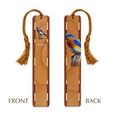 Bluebird - Wooden Bookmark with Tassel