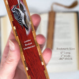 Woodpecker - Ladder Backed Woodpecker -  Wooden Bookmark with Tassel