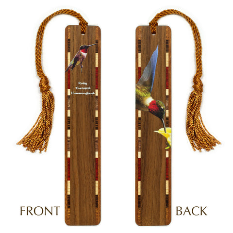 Ruby-throated Hummingbird on Walnut Wooden Bookmark with Tassel