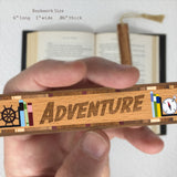 Book Genre Adventure Handmade Solid Wooden Bookmark with Inlays and Tassel