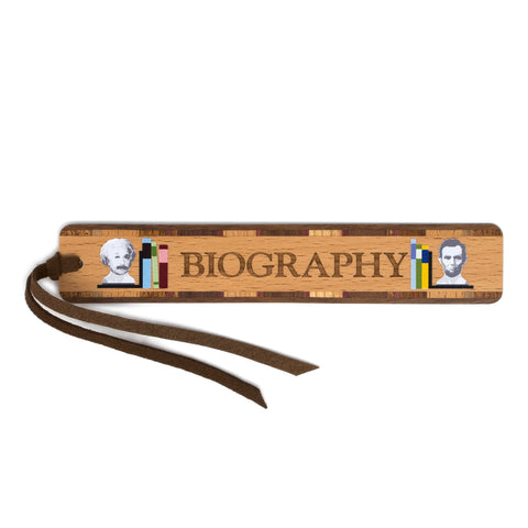Book Genre Biography Handmade Solid Wooden Bookmark with Inlays and Tassel