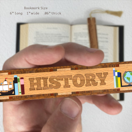 Book Genre History Handmade Solid Wooden Bookmark with Inlays and Tassel