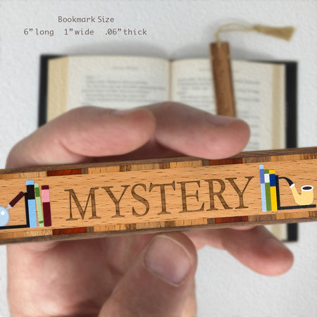 Book Genre Mystery Handmade Solid Wooden Bookmark with Inlays and Tassel