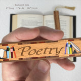 Book Genre Poetry Handmade Solid Wooden Bookmark with Inlays and Tassel