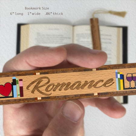 Book Genre Romance Handmade Solid Wooden Bookmark with Inlays and Tassel
