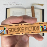 Book Genre Science Fiction Handmade Solid Wooden Bookmark with Inlays and Tassel