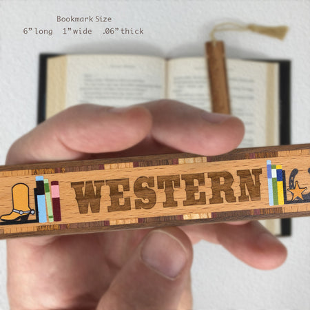 Book Genre Western Handmade Solid Wooden Bookmark with Inlays and Tassel