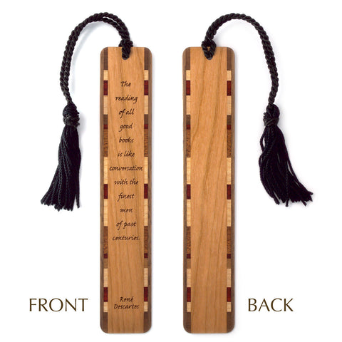 Rene' Descartes Quote About Reading Laser Engraved Wood Bookmark with Tassel