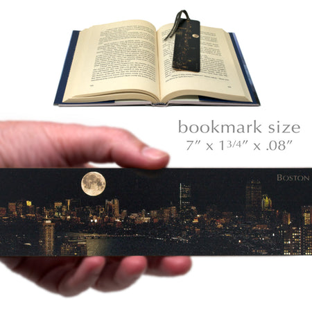 Boston Under Full Moon Wooden Bookmark with Suede Tassel