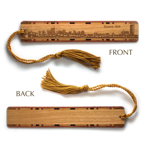 Boston Massachusetts Skyline Engraved Wooden Bookmark with Tassel