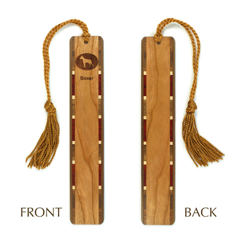 Dog Bookmark - Boxer Engraved Wooden Bookmark with Tassel