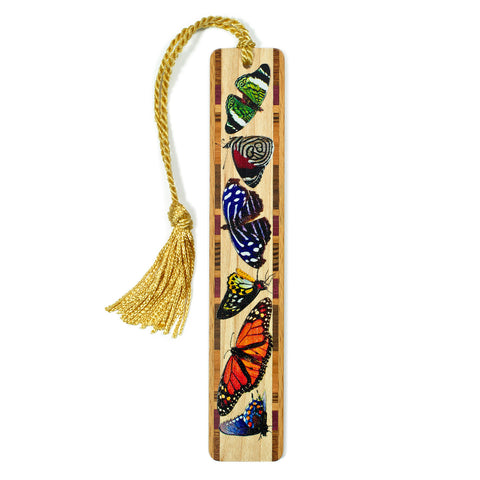 Butterflies in Color Wooden Bookmark with Tassel