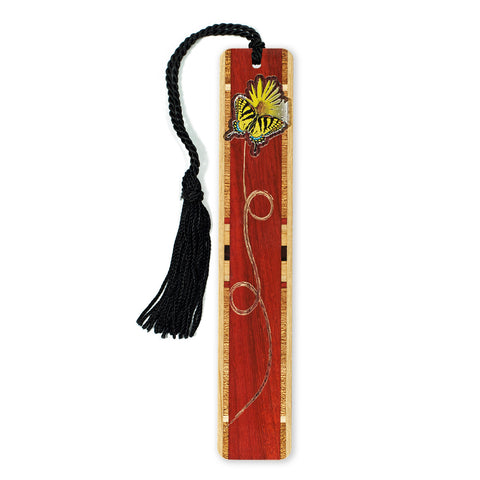 Butterfly and Flower Engraved Colorful Wooden Bookmark with Tassel