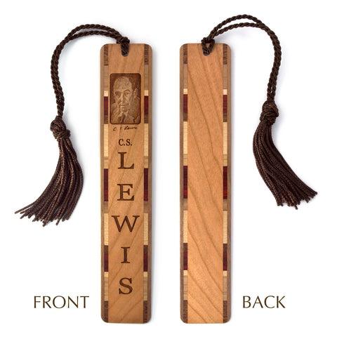 C.S. Lewis Wooden Bookmark with Brown Rope Tassel
