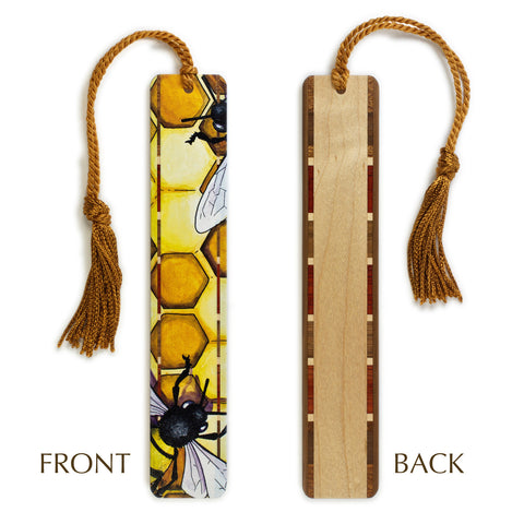 Bees - Honeybees - Honeycomb Art by Christi Sobel on Solid Wooden Bookmark with Tassel
