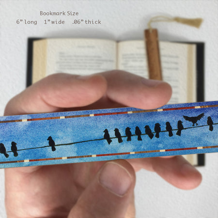 Birds on a Wire - Personal Space - Art by Christi Sobel on Solid Wooden Bookmarks with Tassel