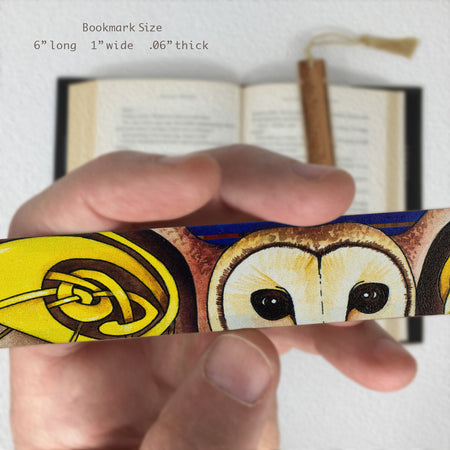 Celtic Barn Owl - Art by Christi Sobel on Solid Wooden Bookmark with Tassel