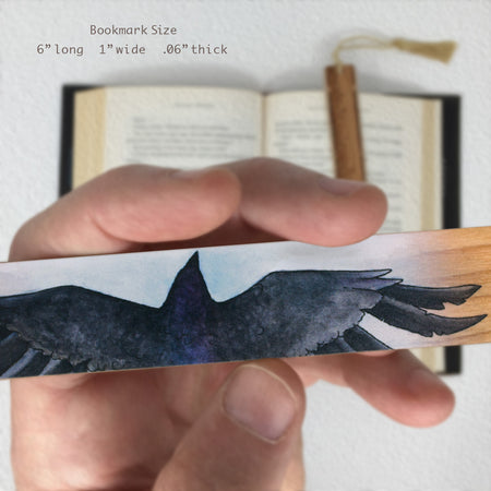 Crow - Art by Christi Sobel on Solid Cherry Wooden Bookmark with Tassel