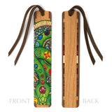 Green Snake - Art by Christi Sobel on Solid Cherry Wooden Bookmark with Tassel