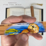 Sea Otter - Art by Christi Sobel on Solid Cherry Wooden Bookmark with Tassel