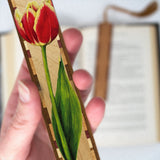Tulip - Art by Christi Sobel on Solid Wooden Bookmark with Tassel