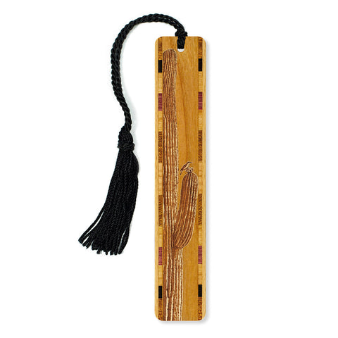 Cactus with Bird Engraved Wooden Bookmark with Tassel