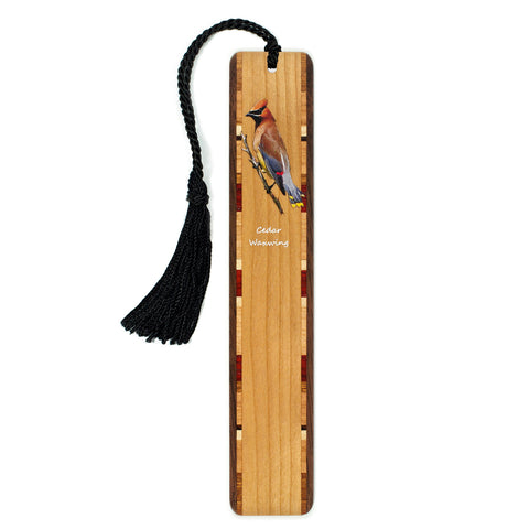 Cedar Waxwing - Bird - Wooden Bookmark on Cherry with Tassel