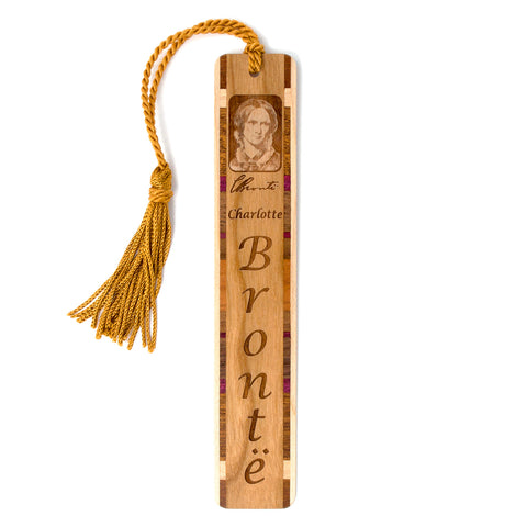 Author - Charlotte Brontë Engraved Wooden Hand Made Bookmarks with Tassel