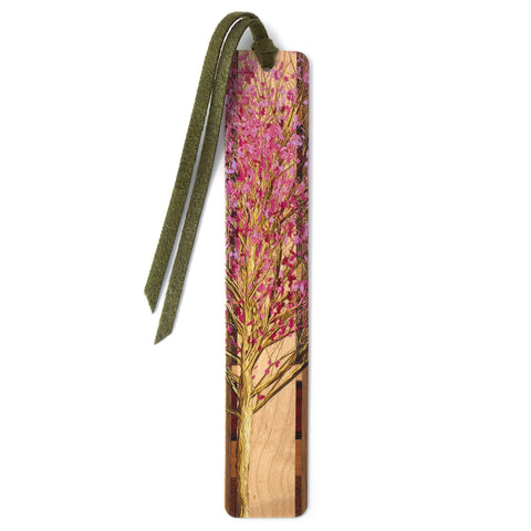 Spring Cherry Blossom Tree on Maple Wood Bookmark with Green Suede Tassel