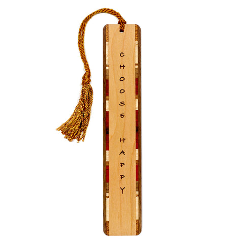 Choose Happy - Happiness Quote - Engraved Wooden Bookmark with Tassel